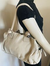 OROTON Medium Size Cream + Silver Trim Leather Shoulder Bag - Near As New Cond'n