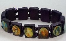 Vintage Bracelet Purple Wood Stretch Religious Catholic Icon Jesus & Saints