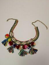 Mia Collection Multi-Colored and Textured Pom Poms Shells Tassels Necklace New