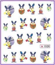 Nail Art Pegatinas Calcomanías de agua transfiere Easter Bunny Conejo huevos de pollo (1636)