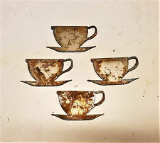 "Lot of 4 Coffee Tea Cup Saucer Shapes 3"" Rusty Metal Vintage Craft Sign Ornament"