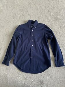 Men's Polo Ralph Lauren Long Sleeved Shirt - Small - Navy - Cotton Stretch