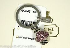 NEW Coach RARE Pink Pave Swarovski Cup Cake Crystal Key Ring Chain 92845 Dessert