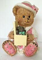 Coin Piggy Bank Little Girl Teddy Bear in Pink Dress & Hat Resin  Baby Bear