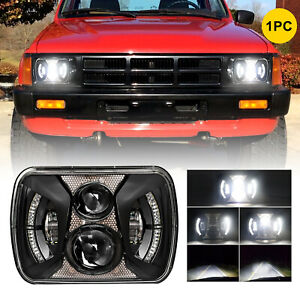"""Black 7x6"""" 5x7 inch LED Headlights DRL for Toyota Pickup Chevy Truck H5054 H6054"""