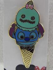 2016 Disney Booster Trading Pin HKDL Tsum Tsum Ice Cream Cone Stitch & Scrump