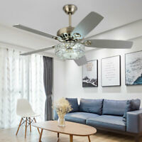"""52"""" Crystal Ceiling Fan Lights Remote Control Reversible 5 ABS Blades Chandelier"""