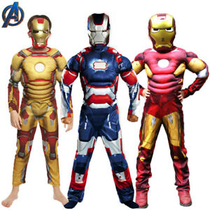 Deluxe Iron Man Cosplay Costume Kids Boys Fancy Dress Party Avengers Outfit Suit