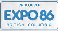 1986 BRITISH COLUMBIA BC EXPO 86 CANADA BOOSTER SOUVENIER LICENSE PLATE