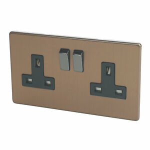 Switches Lights Sockets Stainless Steel Brushed Bronze