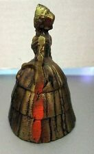 "VINTAGE BRONZE BRASS BELL LADY FIGURAL WOMAN 3"" HAT 3 TEARED SKIRT BELL DR"