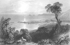 Wales BRISTOL CHANNEL SWANSEA BAY PORT DOCK GLAMORGAN ~ 1840 Art Print Engraving