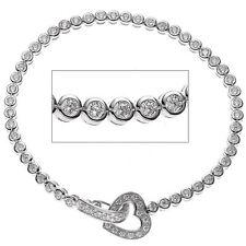 Armband Herz 925 Sterling Silber mit Zirkonia 19 cm Silberarmband Damen Elegant