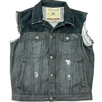 CULT OF INDIVIDUALITY Denim Vest USA MADE Gray Distressed Trucker Moto Men's M