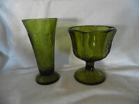 Lot of 2 Green Grape Leaf & Vine Pattern Glass Vase Compote  Anchor Hocking