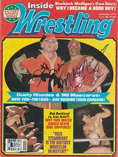 Mil Mascaras Dusty Rhodes Signed Auto'D Inside Wrestling Magazine Bas Coa Wwe
