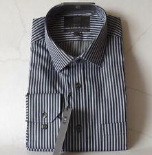 """M&s reiner Baumwolle Regular fit Streifen Hemd ~ Gr. 15"""" ~ schwarz & grau, UVP £ 29.50"""