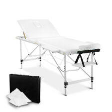 Portable Massage Table Aluminium 3-Fold White 185x75x80cm