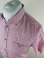 Mens Ted Baker Floral Leaf Shirt Yurtamp Purple 3 Medium 40 Chest Vgc