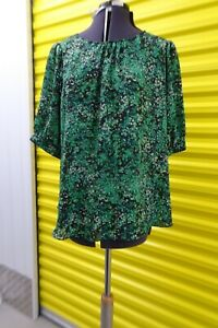 Wallis green short sleeve floral top size UK20