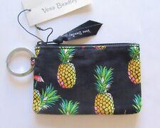 Vera Bradley Toucan Party Lighten UP Zip ID Case pineapples black  Key ring