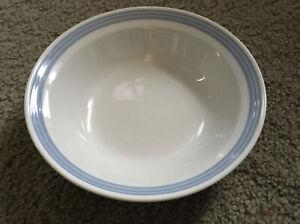 Stoneware Bowl Set (6) Japan Vtg Mid Century White w Blue Trim