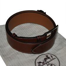 Hermes Brown Brown Calf Leather Etriviere Belt 75