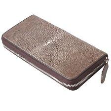 Genuine Stingray Skin Real Leather Long Wallet Zip Around Clutch Purse KTM Brown