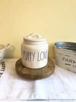"New Rae Dunn ""PUPPY LOVE"" Farmhouse Large Letter Dog Treat Ceramic Canister"