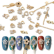 2 Pcs / Pack Hollow Gold Metal Chain Nail Rhinestones Bling 3D Nails Decorations