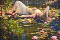 Home Art Wall Decor Girls and water lily Oil Painting Picture Printed On Canvas