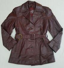 Etienne Aigner Womens Size 10 Vintage 70's Oxblood Leather Coat Belted Spy B4