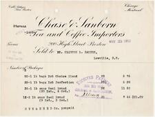 1912 Invoice Chase & Sanborn Tea & Coffee Importers  Boston, Chicago, Montreal
