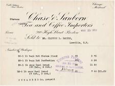 1912 Invoice Chase & Sanborn Tea & Coffee Importers  Boston, Chicago, Montreal