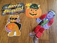 Vintage 1980's Die Cut Paper Eureka USA Halloween Decoration Cat/Dracula/Pumpkin