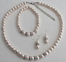Blush Pink Pearl Rhinestones Necklace Earrings Bracelet Wedding Set