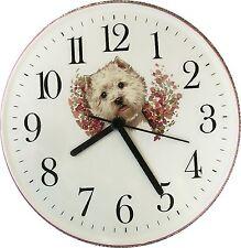 070416 Artline Hund Uhr Westhighland Terrier Pinkrand  Keramik Wanduhr Quarzuhr