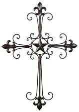 "French Country Black Wrought Iron Fleur-de-lis Wall Cross Christian Decor 24"" H"