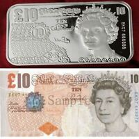 Great Britain 10 Pounds Design / 1 Troy oz .999 Fine Silver Bar Bullion SB1H7