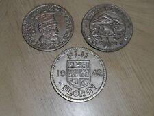 RARE 1950s Set of 3 Metal Trivet Plates East Africa Fiji Morocco Currency JAPAN