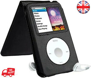 Black Leather Case Cover for Apple iPod Classic 7th 120 160GB Video 5th 30GB U2