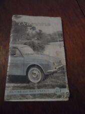 RENAULT DAUPHINE CONDUITE ET ENTRETIEN OWNERS MANUAL Vintage 1950 S - 1960 s