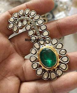 Fine Silver Natural Diamond Polki Emerald Victorian Wedding Brooch Jewelry