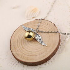 Popular Harry Potter Quidditch Wings Golden Snitch Pendant Silver Necklace Gifts