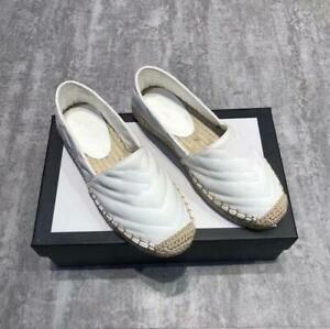 Women Genuine Leather Espadrilles Round jute-capped toe Slip On Loafers Flats
