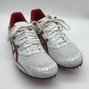 ASICS Hyper Distance Track Spikes Running Shoes GN011 Red White Gold UK12 EUR 48