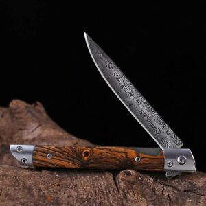 Outdoor Damascus Pat Steel Folding Knife Tool EDC Camping Tactical Travel Gift