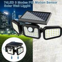 3 Head Solar PIR Motion Sensor Light Outdoor Garden Security Flood Wall D3A8