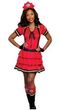 *WOMENS Sz XL 14-16 COSTUME PARTY FIREFIGHTER DRESS HEADPC GLOVES BOOT TOPPERS