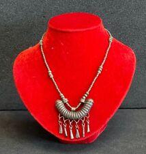 Collier porte amulette Berbère ancien XIXe ou début XXe laiton argenté Afrique